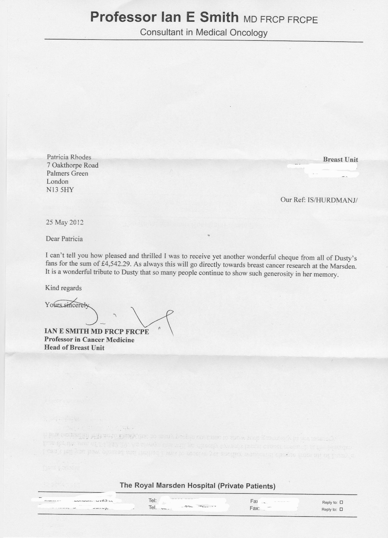 Letter from Royal Marsden 2012